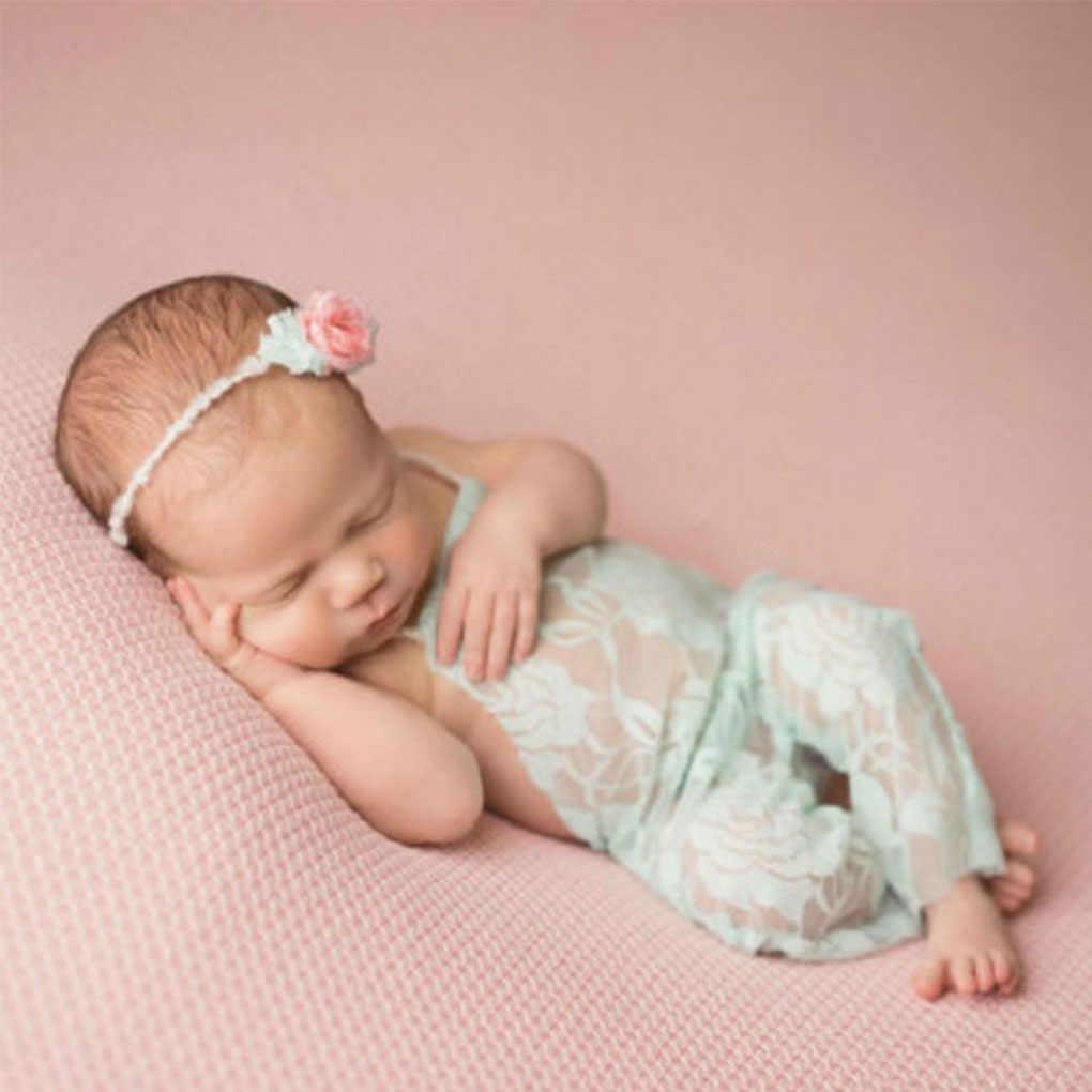 Детский реквизит для фотосъемки с открытой спиной и бантом; кружевной костюм; комбинезон для новорожденных; повязка на голову; наряд для малышей; фотосессия для маленьких девочек