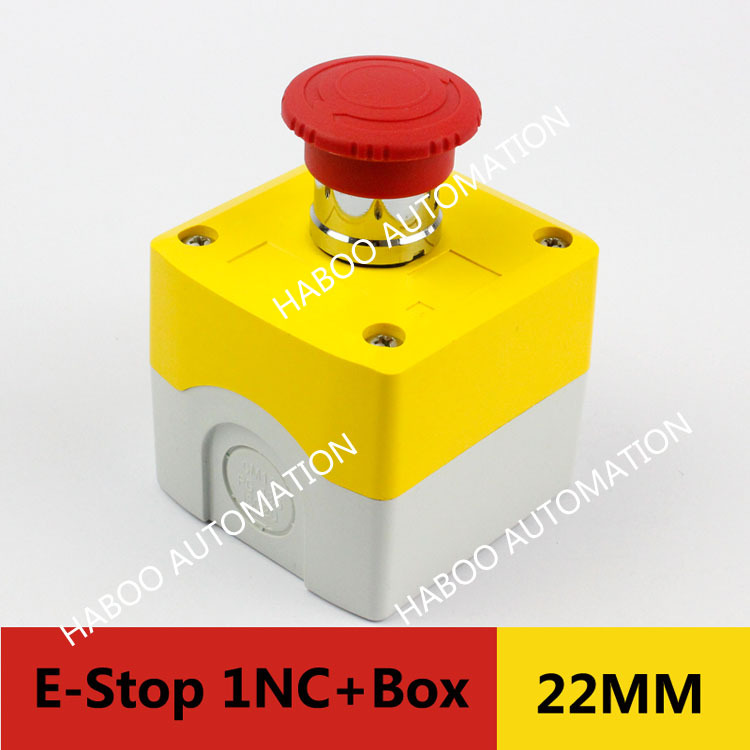 1piece HABOO 22mm series emergency stop switch with box high quality switch 1NC 10A 600V electric switch box