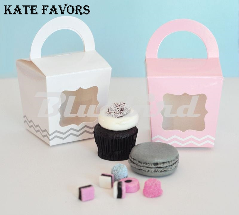 12pcs Four Colors Handle Single Cupcake Boxes/Box and Packaging Of Cake With Personalized Tag For Wedding PCB007