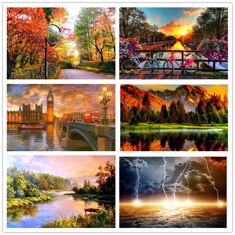 Home & Garden Diamond Painting Cross Stitch Humor 5pieces Diamond Mosaic Green Natural Landscape Forest Tree Path Diy Diamond Painting Cross Stitch Scenery Fog Embroidery Diamond