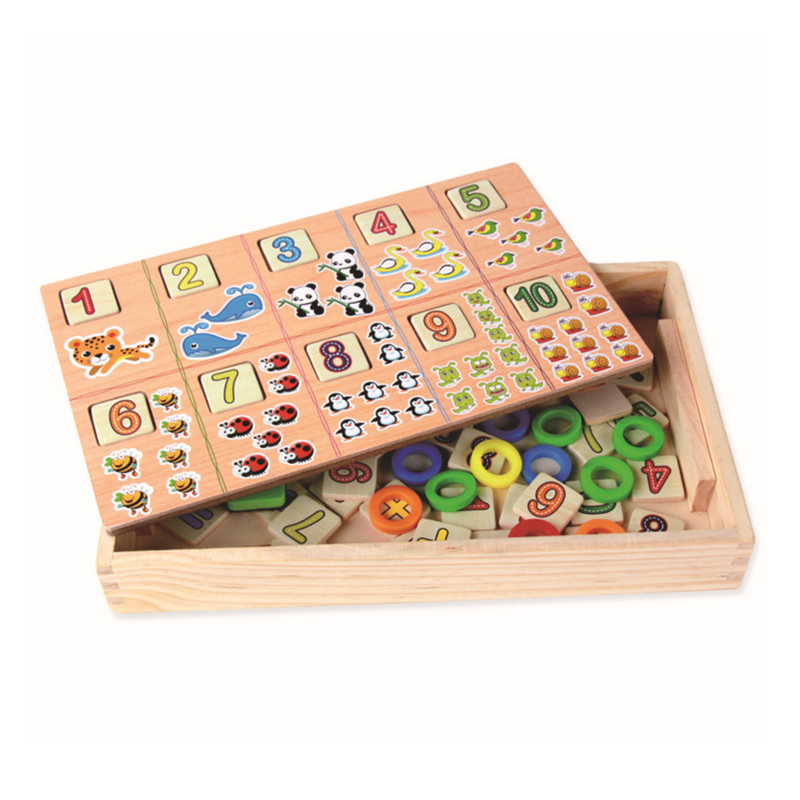 ФОТО 1 set educational montessori kids baby wooden digital animal shape color cognitive learning box blocks toys children game gifts