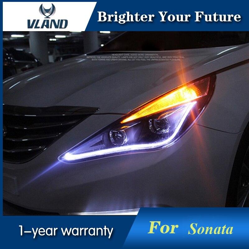 Head Lamp For Hyundai Sonata 2011-2014 8 LED Headlights Bi-Xenon Lens Double Beam Lens