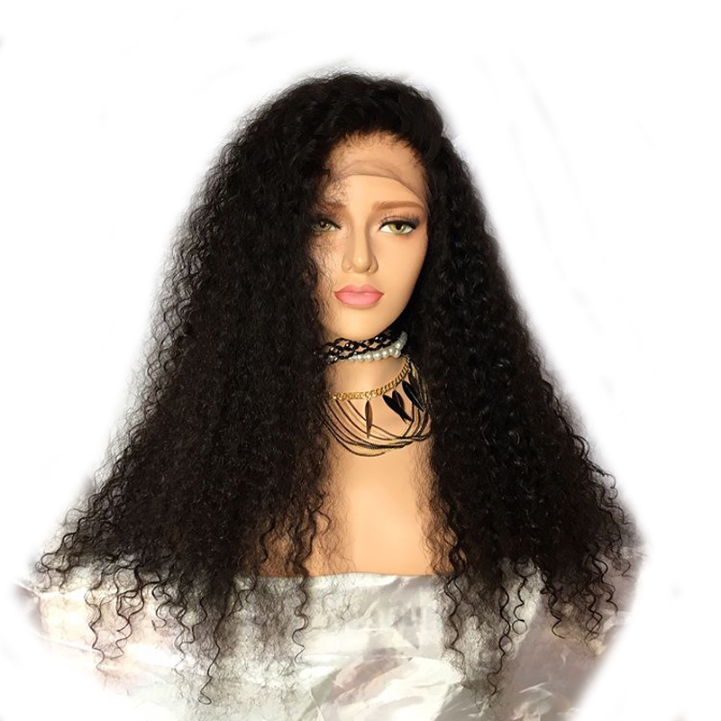 DLME Black Hair #1B Side Part Curly Wigs Heat Resistant Synthetic lace front Wig With Natural Babyhair For Women Free Ship