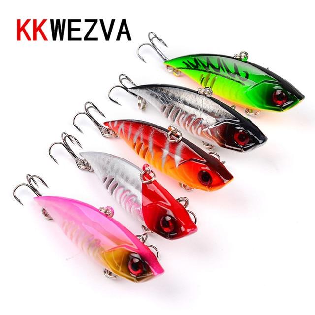 KKWEZVA VIB Hard Fishing Lure 5PCS/65mm 11g Plastic Lure with Ball and Treble Hooks Crankbait Fish Wobbler Pesca Fishing Bait