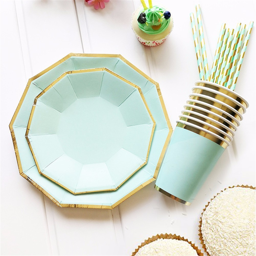Gold Pure Color Mint Green Paper Cup Disposable Tableware For Kids Birthday Party Wedding Food Grade Party Supplies ...
