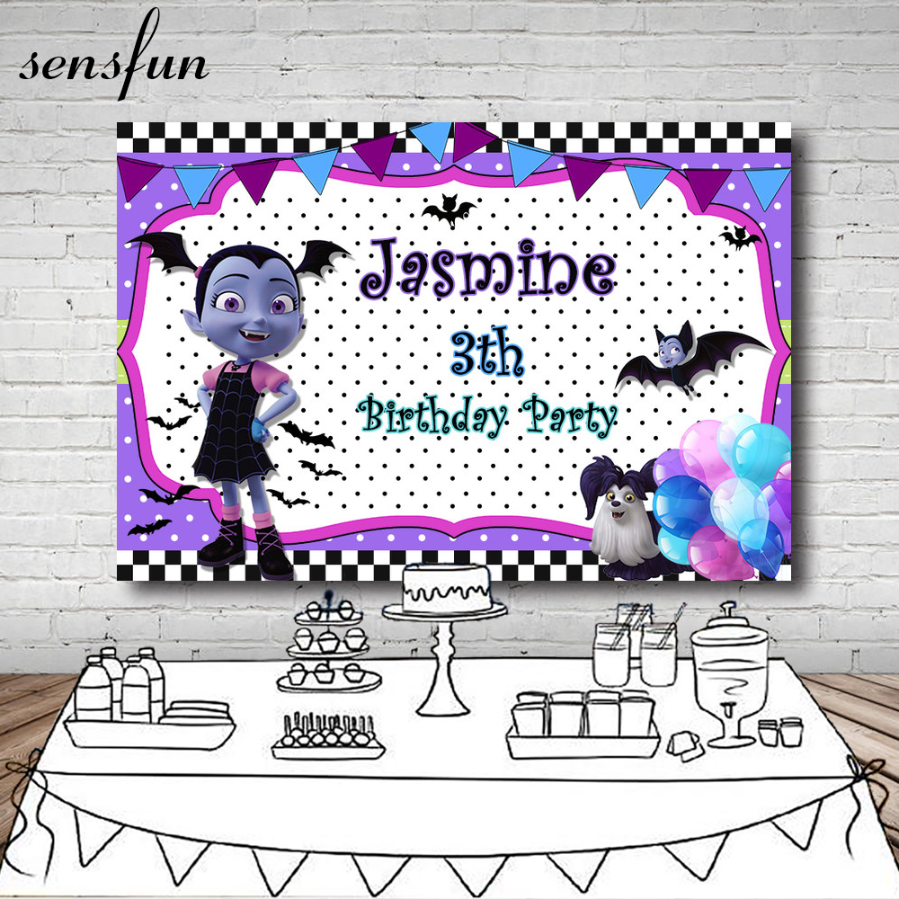 Detail Feedback Questions about Sensfun White Purple Junior Vampirina  Backdrop Bunting Balloon Children Birthday Party Backgrounds For Photo  Studio 7x5FT ... 9bdf6f6d58fd