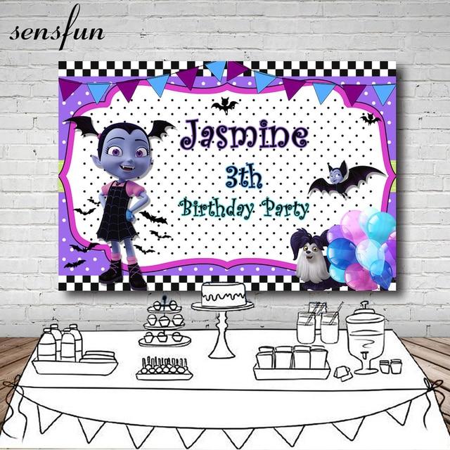 Sensfun White Purple Junior Vampirina Backdrop Bunting Balloon Children Birthday Party Backgrounds For Photo Studio 7x5FT Vinyl