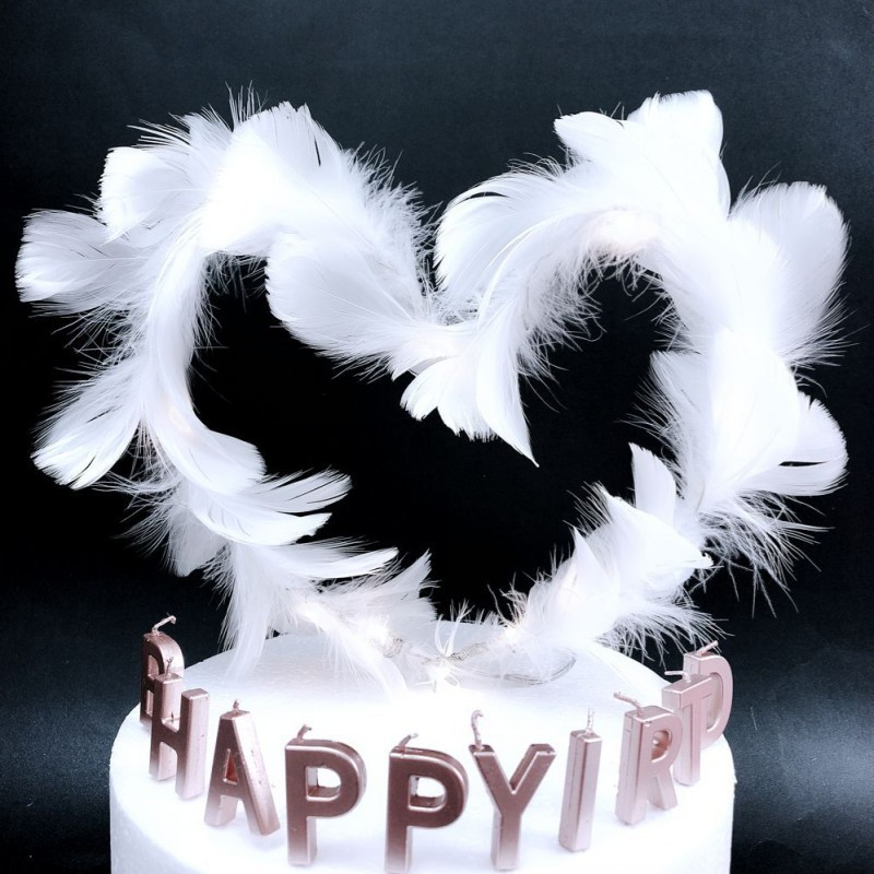 Beautiful Feather heart shape Cake Decoration Plug-in party cake dessert plug-in decor an Be Made Into A Circular Heart Shape