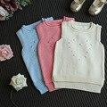 Nuevos bebés de la llegada suéter de algodón niñas chaleco otoño primavera suéter niños suéter de la manera del chaleco del color del caramelo de 1-5 T