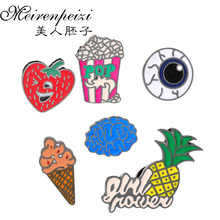 Medical Brain Eye Cartoon Popcorn Pineapple Ice-cream Strawberry Enamel Pin Fashion Jewelry Alloy Brooches Pin Backpack Badges