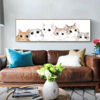 Posted On The Wall Diamonds Painting Big Eyed Cats Simple Modern Animals Decorative Paintings DIY Living