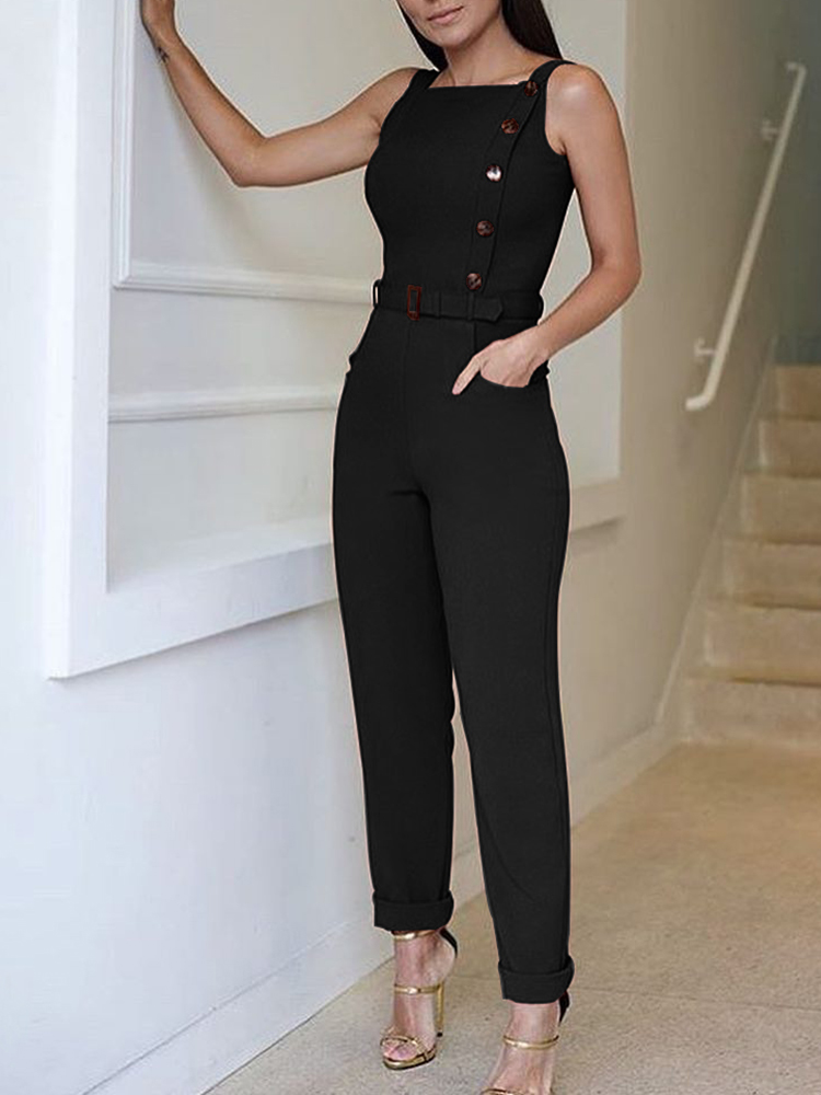 2018 New Fashion Summer Women Stylish Casual Elegant Jumpsuit Sleeveless Solid Color Button Design Jumpsuit
