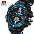 Moda masculina Esporte Relógios Homens Luxo Marca 5ATM Militar Relógio de Pulso 2016 New TTLIFE 50 m Dive LED Digital Analógico Quartz relógios