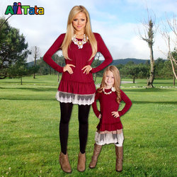 Mommy baby doll dress burgundy 2017 mother daughter dresses fashion black lace patchwork long sleeves family.jpg 250x250