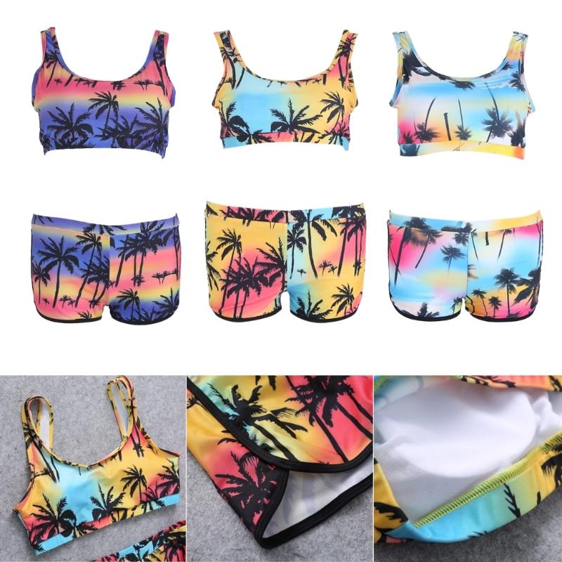 Sexy Women 39 s Crop Top High Waist Shorts Tropical Bikini Beach Beachwear Swimwear in Bikinis Set from Sports amp Entertainment