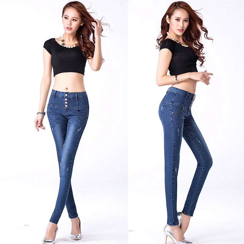 ФОТО Woman Jeans Camisa Feminina Lady Fat Trousers 2017 Jeans Womens High Waist Elastic Skinny Denim Long Pencil Pants Plus Size 31