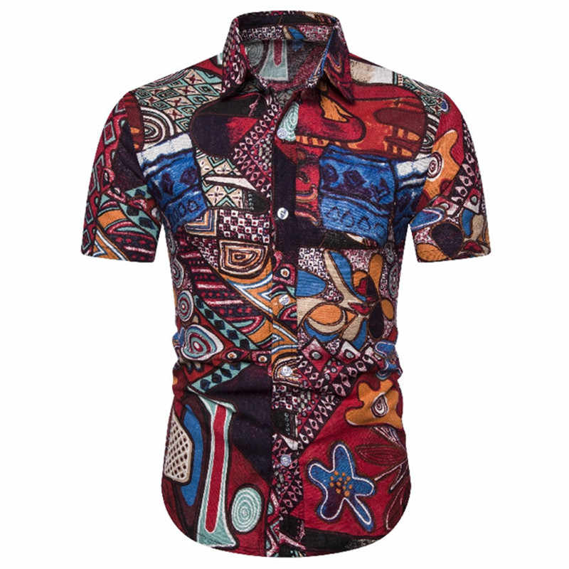 Mens Ethnic Floral Print Dress Shirts 2019 Fashion Slim Fit Linen Shirts Men Short Sleeve Hawaiian Shirt Men Camisa Masculina