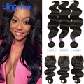 3Bundles Indian Body Wave With Closure 10A Indian Virgin Hair Body Wave With Closure Vip Beauty Hair With Closure Body Wave Hair