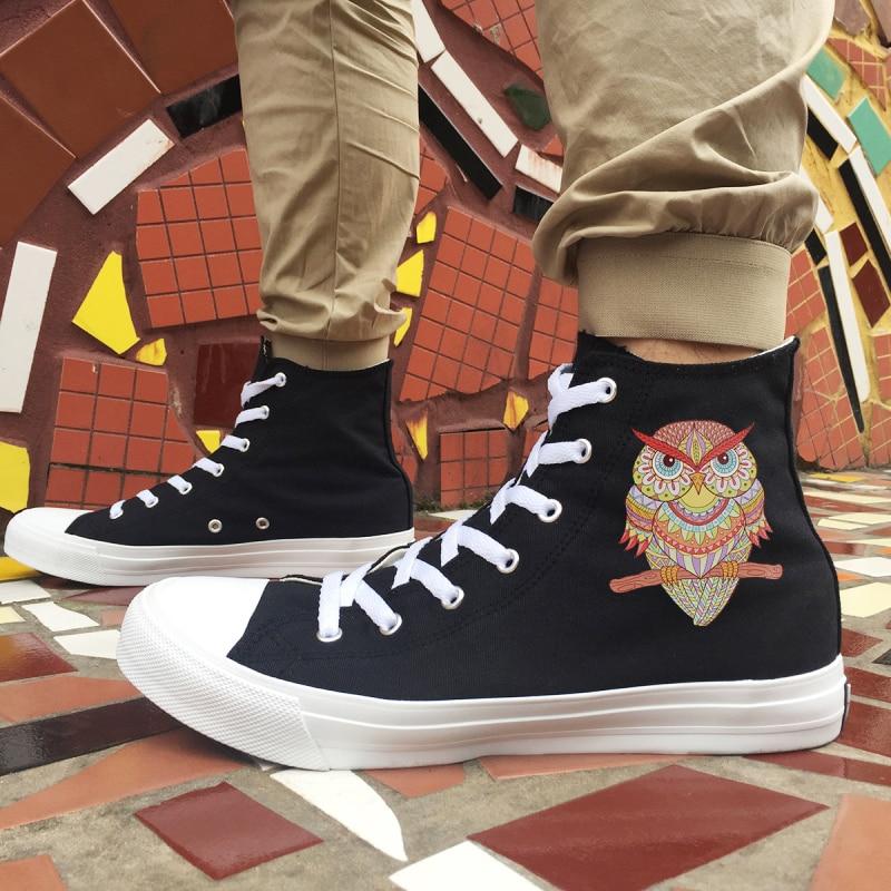 Estilo Dos Desenhos High Das Lona De Meninos Atado Plano Animados Plimsolls Totem Sneakers Meninas Coruja Projeto Casual Sapatos Top Da Wen Preto Adolescentes Étnico vwnXqI16x
