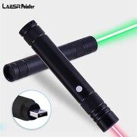USB Перезаряжаемые красный Лазеры Зеленая лазерная указка Pen высокой Мощность луч прицел для Охота Кемпинг Пеший Туризм