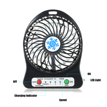 Portable Rechargeable LED Light Fan Mini Desk USB Charging Air Cooler 3 Mode Speed Regulation LED Lighting Function Cooling