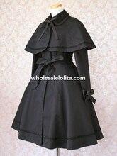Black Cotton Lolita Jacket with Detachable Cape 3XL 4XL 5XL for Sale 6 Color Customize