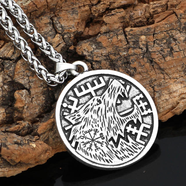 STAINLESS STEEL WOLF ODIN VIKING NECKLACE