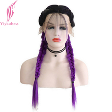 Yiyaobess Double Braids Wig With Baby Hair Dark Roots Ombre Heat Resistant Natural Braided Synthetic Lace Front Wigs For Women