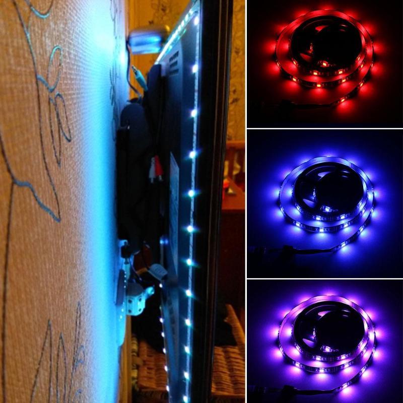 USB 5050 LED Strip RGB Fairy Light IP65 Waterproof DC 12V TV Backlight String Lamp with Mini 3 Keys ControllerUSB 5050 LED Strip RGB Fairy Light IP65 Waterproof DC 12V TV Backlight String Lamp with Mini 3 Keys Controller