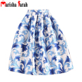 New Women Pleated Blue Floral Print Long Skirt Europe Americas Summer Autumn Skate Tutu Ball Gown High Waist Casual Skirts saias