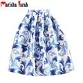 New Women Pleated Blue Floral Print Long Skirt Europe Americas Summer Autumn Skate Tutu Ball Gown High Waist Casual Skirts saias