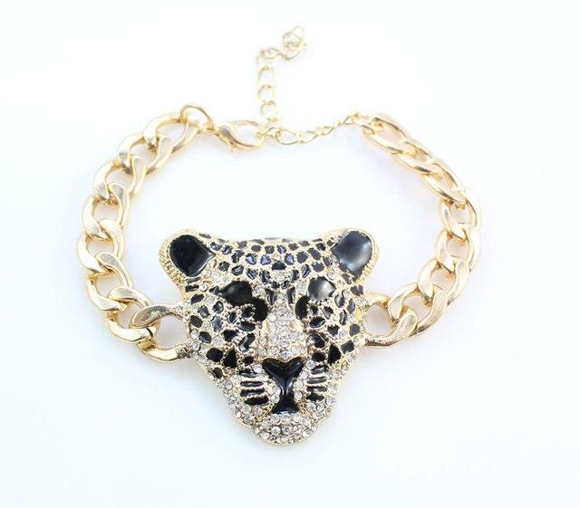 Фото модный браслет с головой леопарда серьги ожерелье кольцо набор цена