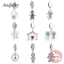 925 Sterling Silver Fit Pandora Charms Bracelets Original Beads Boy Girl Charms Pendant Beads for DIY Jewelry Making Berloque 925 sterling silver beads propeller plane pendant charms fit original pandora bracelets women diy jewelry