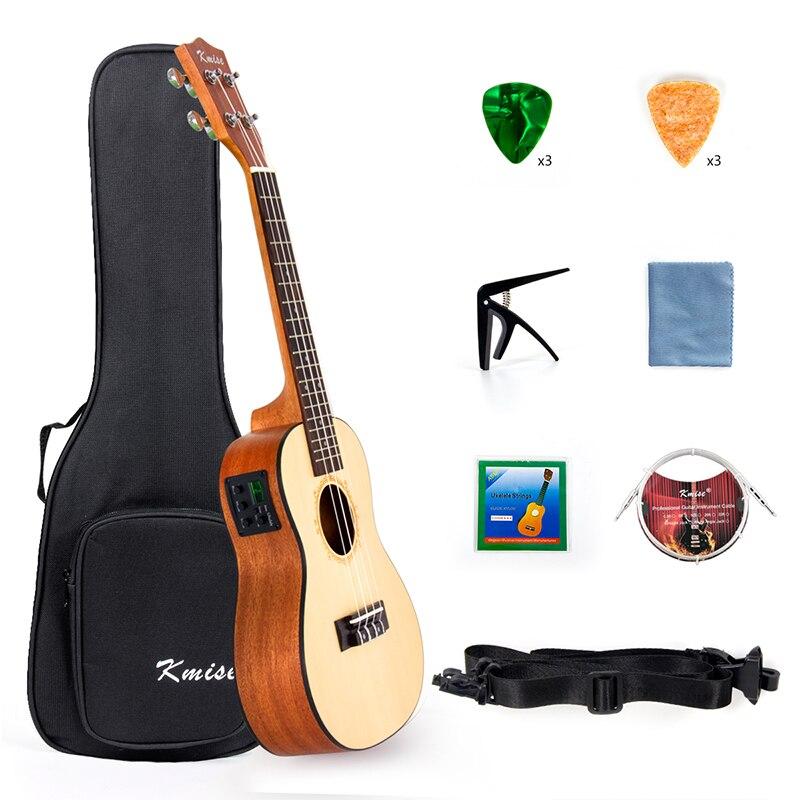 Kmise Ukelele concierto eléctrico Acousitc abeto sólido Ukelele 23 pulgadas Uke profesional de Cable de guitarra Starter Kit