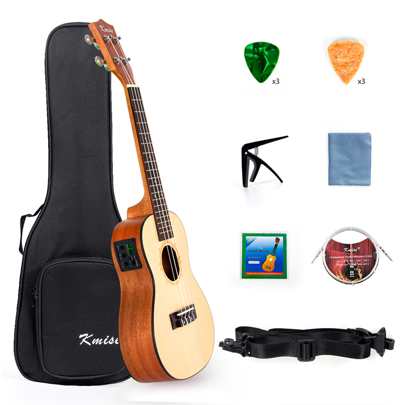 Kmise Ukulele Concert Electric Acousitc Solid Spruce Ukelele 23 Inch Uke with Professional Guitar Cable Starter Kit