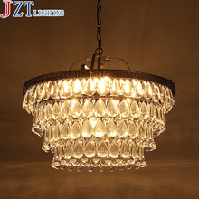 ZYY E14 * 11 Head American Country Retro Iron Chandelier Crystal Ceiling Lamp Dia 45 * L40cm For Housing Dining Room Villa Hotel