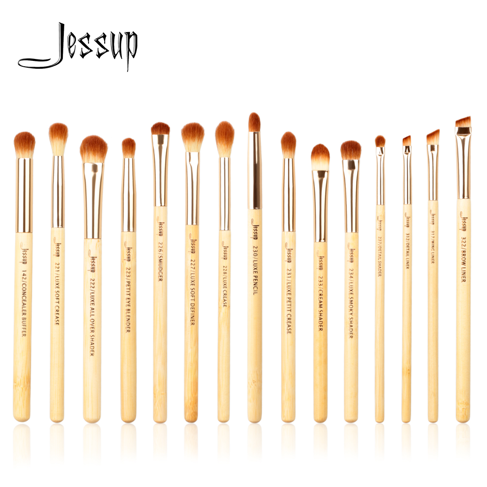 Jessup Brand 15pcs Beauty Bamboo Professional Makeup Brushes Set Make up Brush Tools kit Eye Shader Liner Crease Definer Buffer jessup brand 25pcs beauty bamboo professional makeup brushes set make up brush tools kit foundation powder blushes eye shader