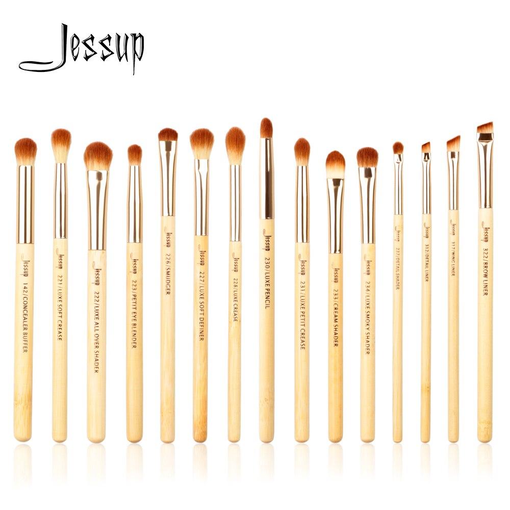 Jessup Marke 15 stücke Schönheit Bambus Professionelle Make-Up Pinsel Set Make up Pinsel Tools kit Eye Shader Liner Falte Definierer puffer