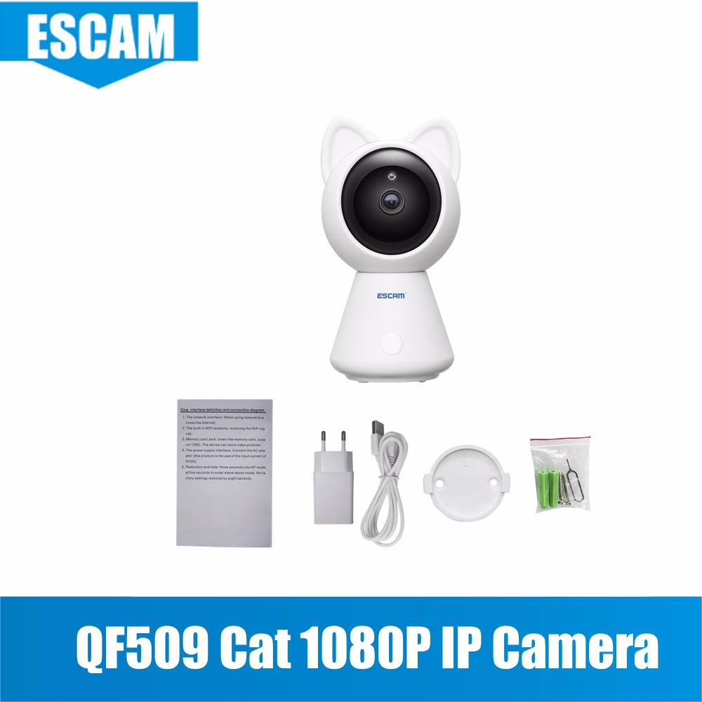 mini wifi camera Escam QF509 HD 1080P Pan/Tilt Monitor Wifi IP IR ONVIF hd 1080p pan