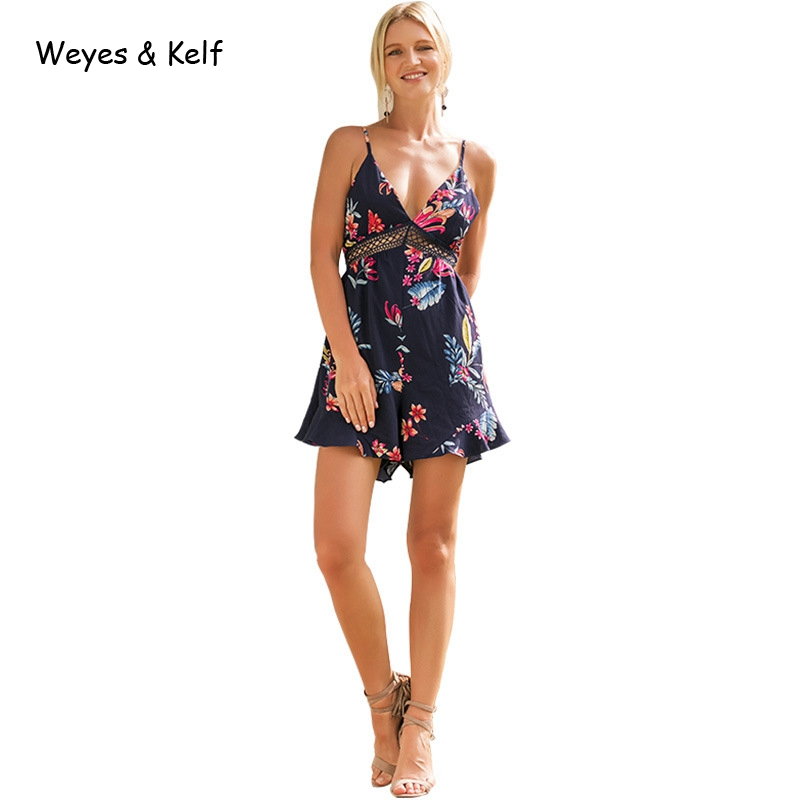 Weye & Kelf Sexy V Neck Print Boho Jumpsuit Romper Backless Tie Up Short Jumpsuit Women Pleated Casual Summer Playsuit Women