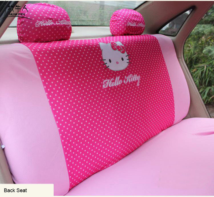 MUNIUREN Cute Pink Hello Kitty Car Rear Back Seat Cover Polyester Polka Dot Universal Protective Interior Accessories In Automobiles Covers From