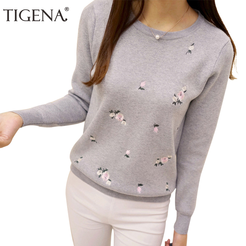 TIGENA Floral Embroidery Sweater Women 2019 Winter Long Sleeve Knitted Sweaters And Pullovers Female Knitted Jumper Ladies Gray