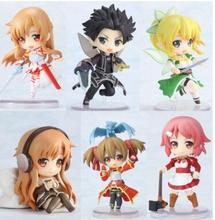 NEW Anime action figure 6pcs/set Sword Art Online Fairy Dance Kirito Asuna Lefa PVC Action Figures Toys  6CM