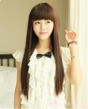 Trim Bangs To Eyes 65cm Dark Brown Medium Long Straight Hair Synthetic Party Cosplay Costume Wig.Free Shipping