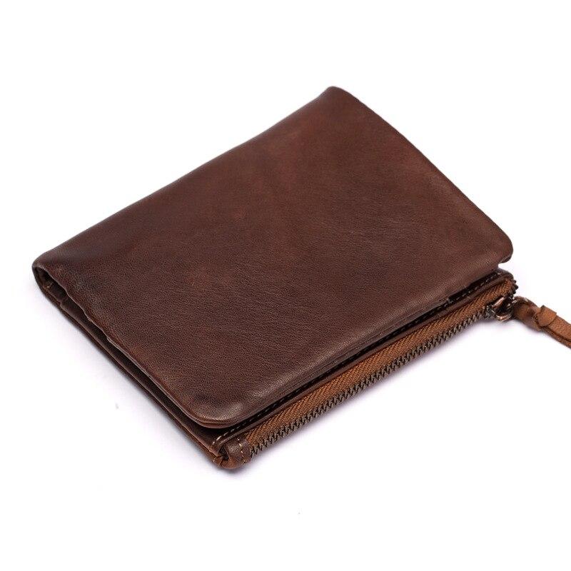 цена на Factory direct short paragraph genuine leather Genuine Leather men wallets Oil wax retro double zipper magnetic clip money clip