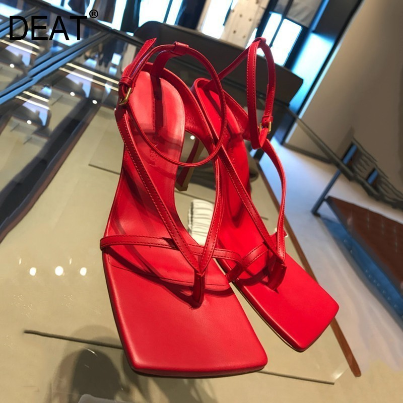 [DEAT] 2019 New Spring Summer Square Toe Pu Leather Buckle Strap Narrow Band Thin High Heels Sandals Women Fashion Tide 10D092