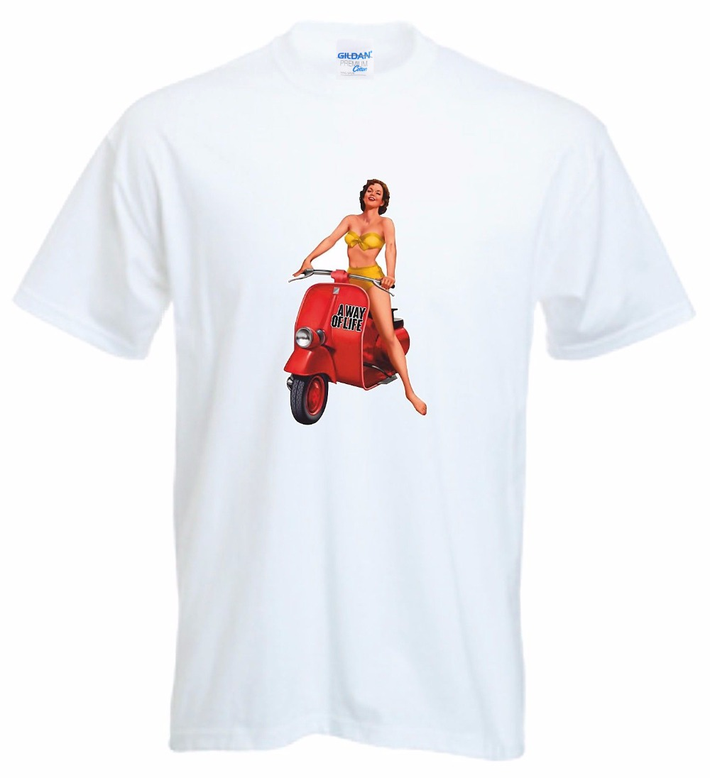 2018 Designs Mens T Shirt summer stranger things RETRO LOOK 1960S RED SCOOTER PIN UP GIRL BIKINI MOPED design website T-shirt