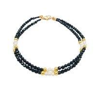 ااا جي gemstone مزدوجة سلسلة الأسود الإسبنيل ، المياه العذبة بيرل 925 فضة الذهب مشرقة سوار