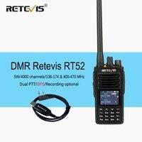 RETEVIS RT52 Двухдиапазонная VHF UHF DMR радио gps двойной PTT двухсторонняя рация SMS DCDM Ham Радио Amador Comunicador + кабель