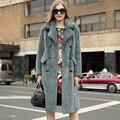 2016 Nueva Llegada Importado Natural Mink Fur Coat Para Las Mujeres solapa Doble de Pecho Abrigo de Visón de Lujo de Encargo de la Marca de Las Señoras 1377